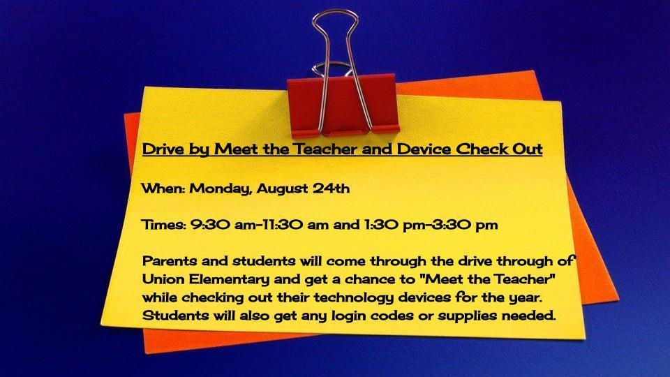 Drive by Meet the Teacher & Device Check-Out