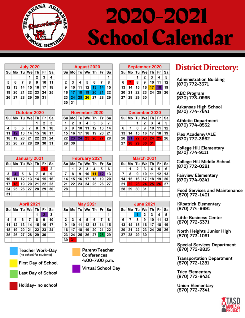 New 2020-2021 District Calendar